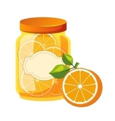 Sweet citrus orange jam glass jar filled with vector