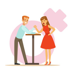 Man and woman with hands clasped arm wrestling vector