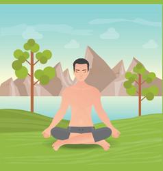 Calm man is doing yoga and meditation vector