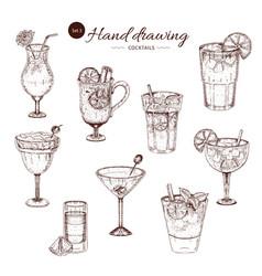 Alcoholic cocktails hand drawn monochrome set vector