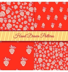 Red Strawberry Pattern Set vector image