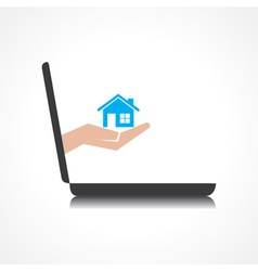 hand holding home comes from laptop screen vector image