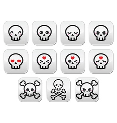 Kawaii cute Halloween skull buttons set vector image