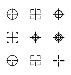 Black crosshair icon set vector