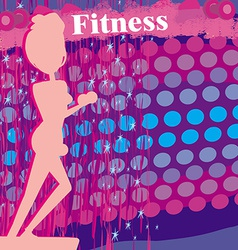 Fit woman exercising - silhouetteabstract card vector