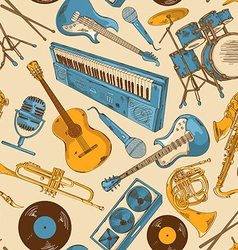 Seamless pattern of colorful musical instruments vector