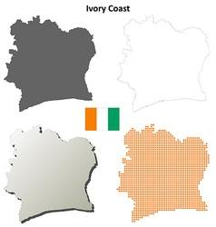 Ivory coast outline map set vector