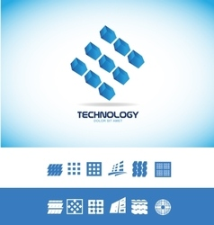 Technology microchip logo vector