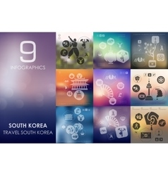 South korea infographic with unfocused background vector