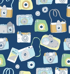 Cute hand drawn old and new cameras vector