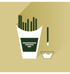 Flat with shadow Icon French fries and sauce vector image