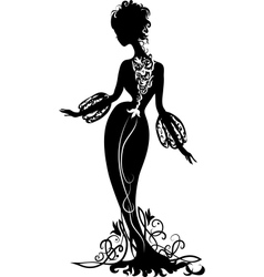 Graphic silhouette of a woman vector
