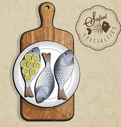 artistic fish dish design vector image vector image