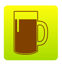 Beer glass sign brown icon at green vector