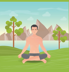 Calm man is doing yoga and meditation vector