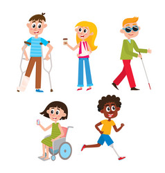 Cartoon people with injuries and disabilities vector