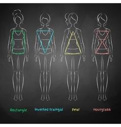Chalked female body types vector