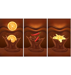 Chocolate splash with orange chilli vanilla vector