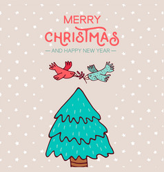 christmas and new year birds on pine tree cartoon vector image vector image