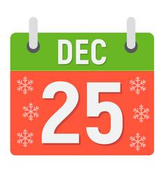 christmas calendar flat icon christmas vector image vector image