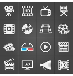 Cinema icons on black background vector image