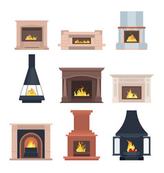 Collection of home different fireplaces to paste vector