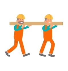 Construction worker two laborers vector
