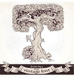 Fable forest hand drawn by a vintage font - T vector image vector image