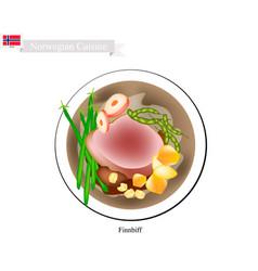 finnbiff or sauteed reindeer popular dish of norw vector image