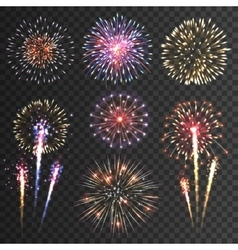 Firework pictograms black background set vector image vector image