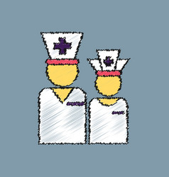 Flat shading style icon nursing staff silhouette vector