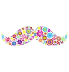 Floral mustache on white background vector