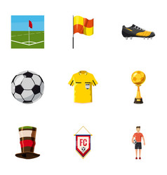 Football fans icons set cartoon style vector