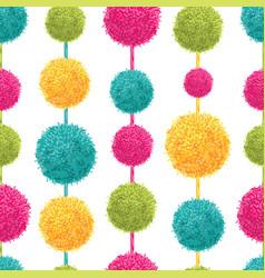 Fun colorful decorative hanging pompoms vector