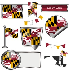 Glossy icons with Marylander flag vector image vector image