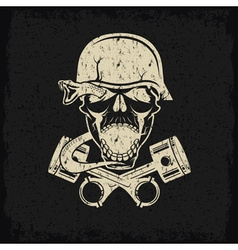 Grunge biker theme label with pistons snake and vector