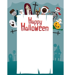 Halloween Ghost on Frame vector image