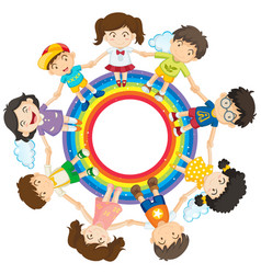 happy children holding hands around rainbow circle vector image vector image