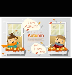 Hello autumn background with little boy and girl vector