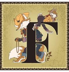 Letter F Brer Rabbit and Brer Fox vector image