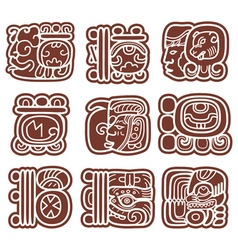 Mayan glyphs writing system and languge design vector image