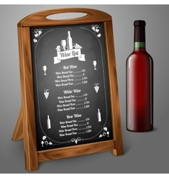Menu template on chalkboard - for alcohol with vector image vector image