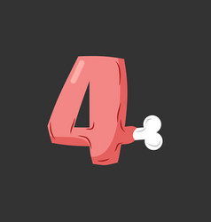 Number 4 meat pork and bone font four ham vector