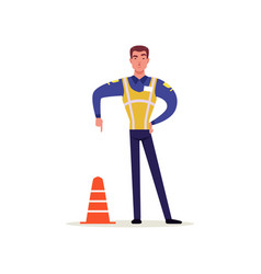 Officer of traffic police in uniform with high vector