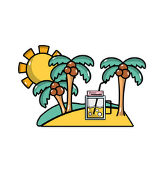 Palms with beverage in the island on vacation vector