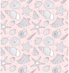 Pattern with ocean shells vector