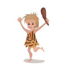 Prehistoric cave boy wearing in an animal skin vector
