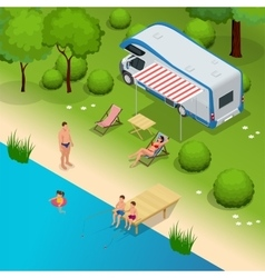 Rv camper in camping family vacation travel vector
