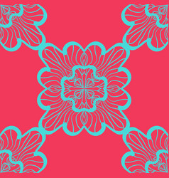 Seamless geometric pattern with azure ornamental vector