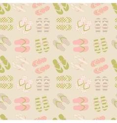 Seamless pattern of flip flops in vintage style vector image